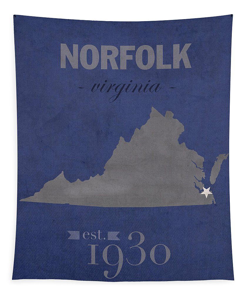 Old Dominion University Tapestry featuring the mixed media Old Dominion University Monarchs Norfolk Virginia College Town State Map Poster Series No 085 by Design Turnpike