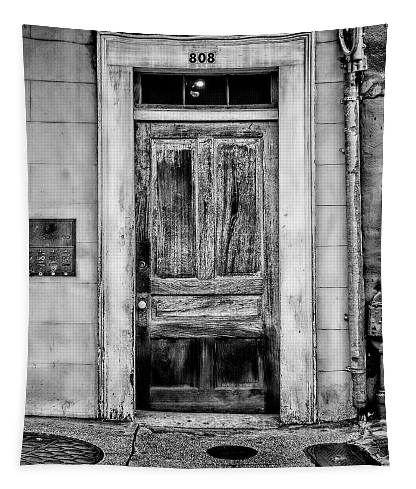 Christopher Holmes Tapestry featuring the photograph Old Door - Bw by Christopher Holmes