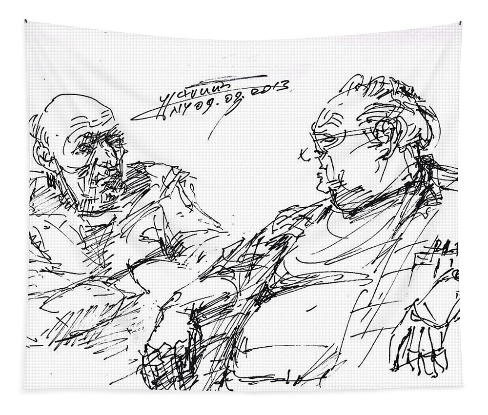 Men Talking Tapestry featuring the drawing Old Guys by Ylli Haruni