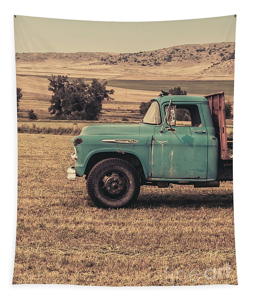 Ranch Tapestry featuring the photograph Old Hay Truck In The Field by Edward Fielding