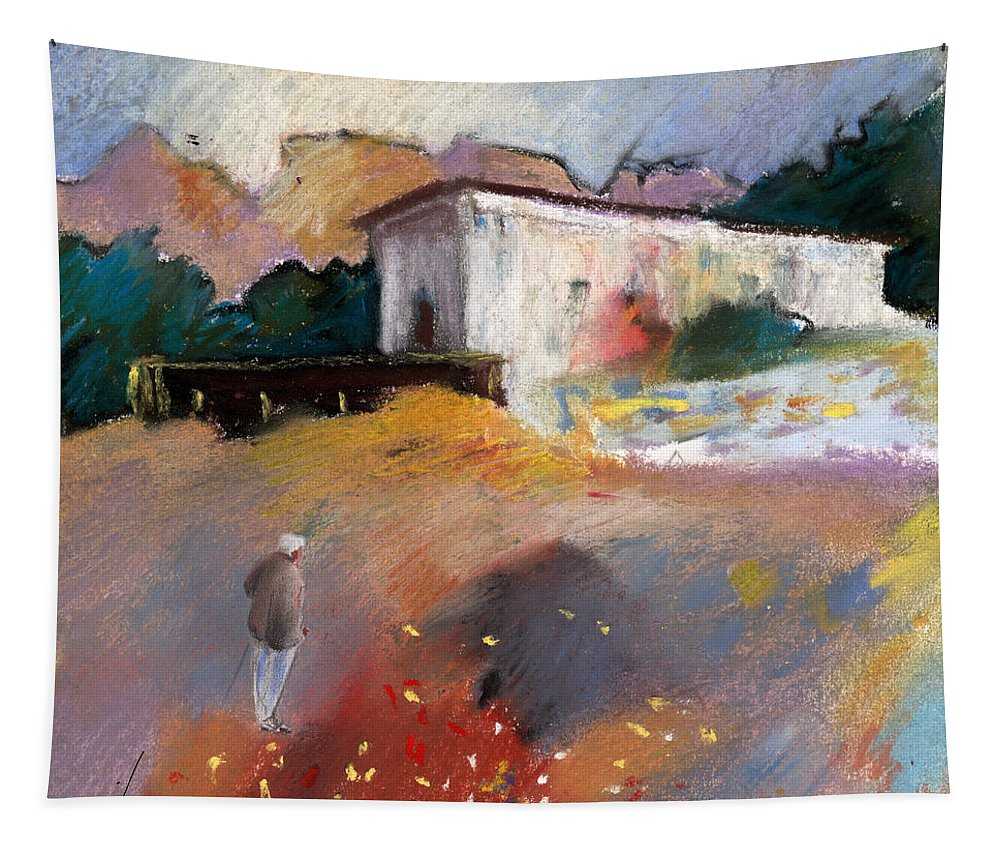 Travel Tapestry featuring the painting Old House In Altea La Vieja 01 by Miki De Goodaboom