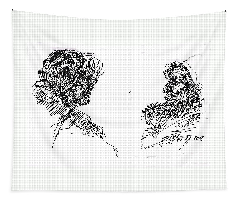 Old Ladies Tapestry featuring the drawing Old Ladies Talking by Ylli Haruni
