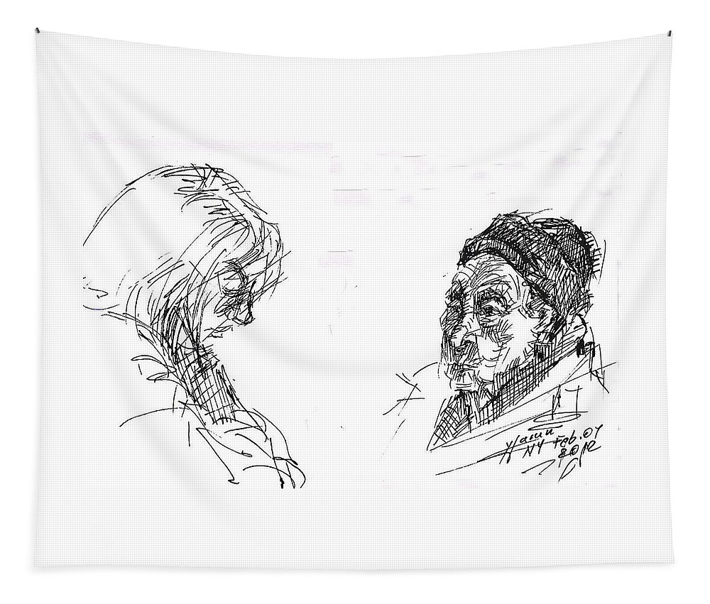 Ladies Tapestry featuring the drawing Old Lady With A Lady by Ylli Haruni