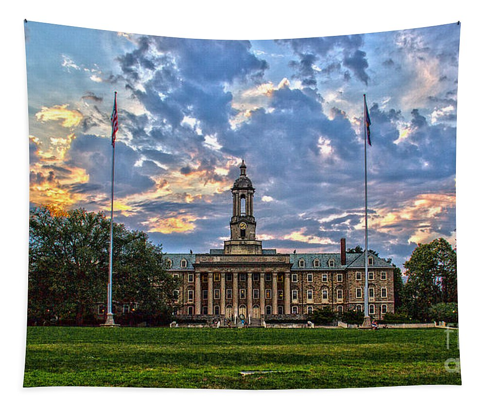 Architecture Tapestry featuring the photograph Old Main At Sunset by Tom Gari Gallery-Three-Photography