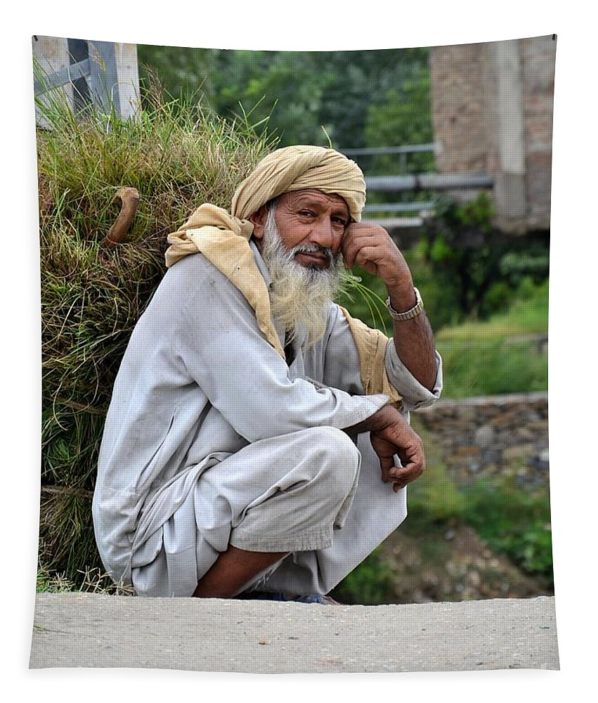 Old Man Tapestry featuring the photograph Old Man Carrying Fodder Swat Valley Kpk Pakistan by Imran Ahmed