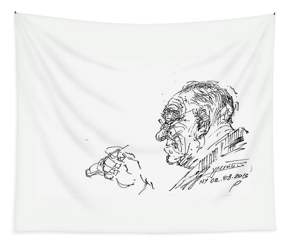 Man Head Tapestry featuring the drawing Old Man by Ylli Haruni