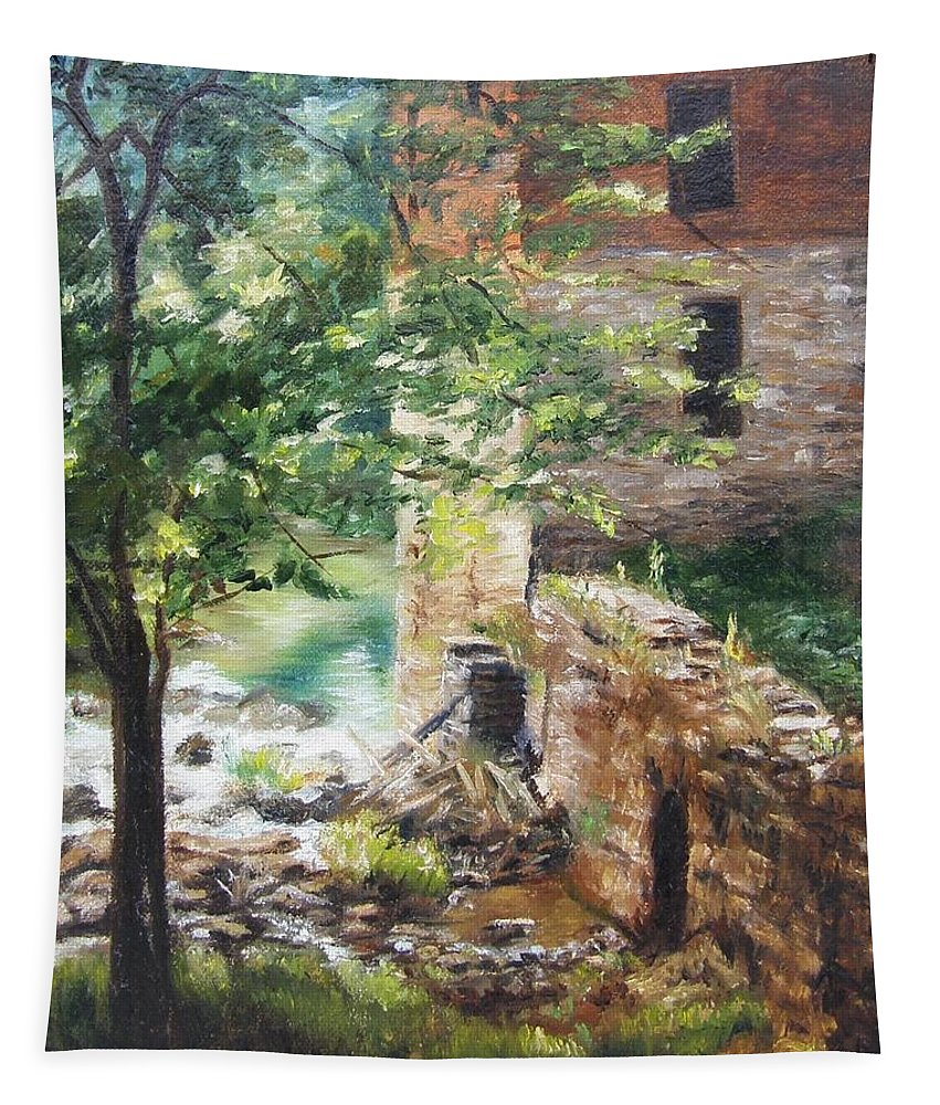 Water Tapestry featuring the painting Old Mill Stream I by Lori Brackett