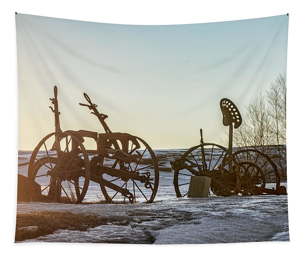 Farm Equipment Tapestry featuring the photograph Old Mowers On The Hillside by Susan Capuano