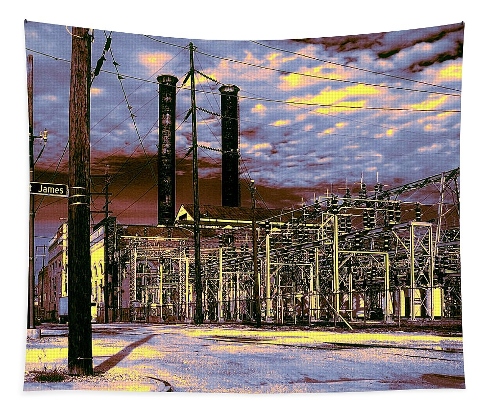 New Orleans Tapestry featuring the photograph Old New Orleans Electric Plant by Dominic Piperata