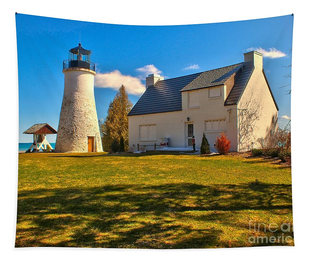 Lighthouse Tapestry featuring the photograph Old Presque Isle Lighthouse by Nick Zelinsky