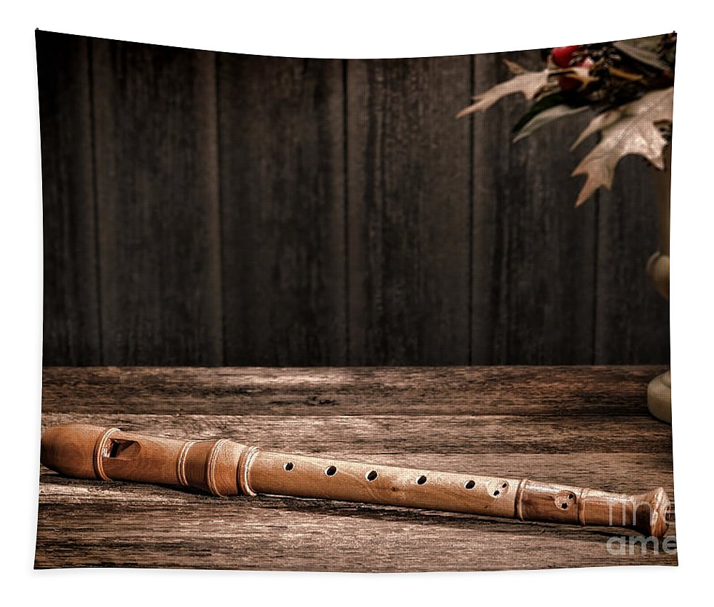 Flute Tapestry featuring the photograph Old Recorder by Olivier Le Queinec