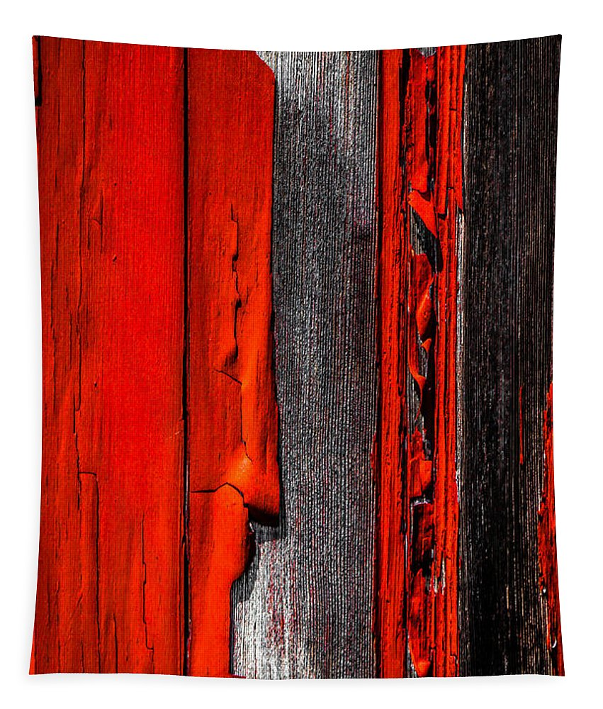 Abstract Tapestry featuring the photograph Old Red Barn Four by Bob Orsillo