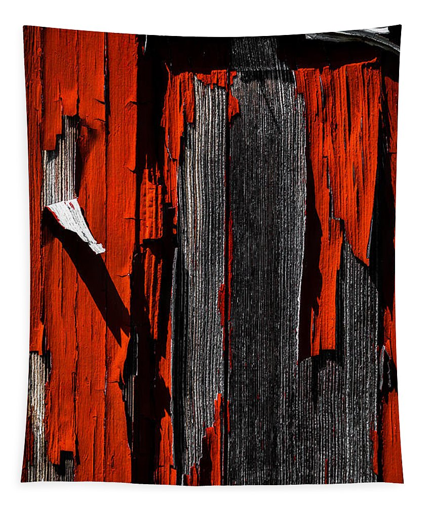 Abstract Tapestry featuring the photograph Old Red Barn Two 2 by Bob Orsillo