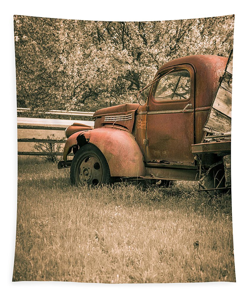 Rusty Tapestry featuring the photograph Old Red Farm Truck by Edward Fielding