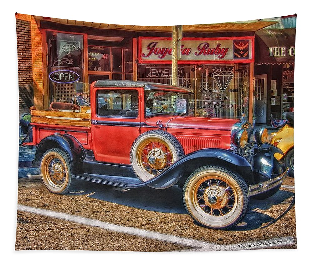 Jalopy Tapestry featuring the photograph Old Red Pickup Truck by Thomas Woolworth