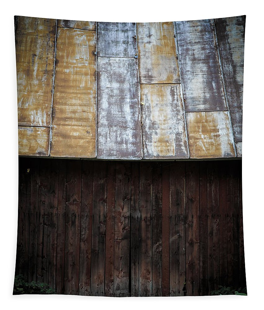 Vermont Tapestry featuring the photograph Old Rusty Tin Roof Barn by Edward Fielding