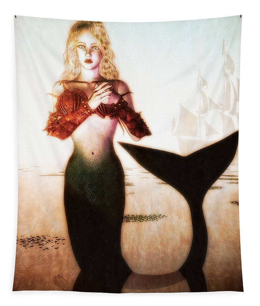 Mermaids Tapestry featuring the digital art Old Sailors Dream - The Mermaid by Bob Orsillo