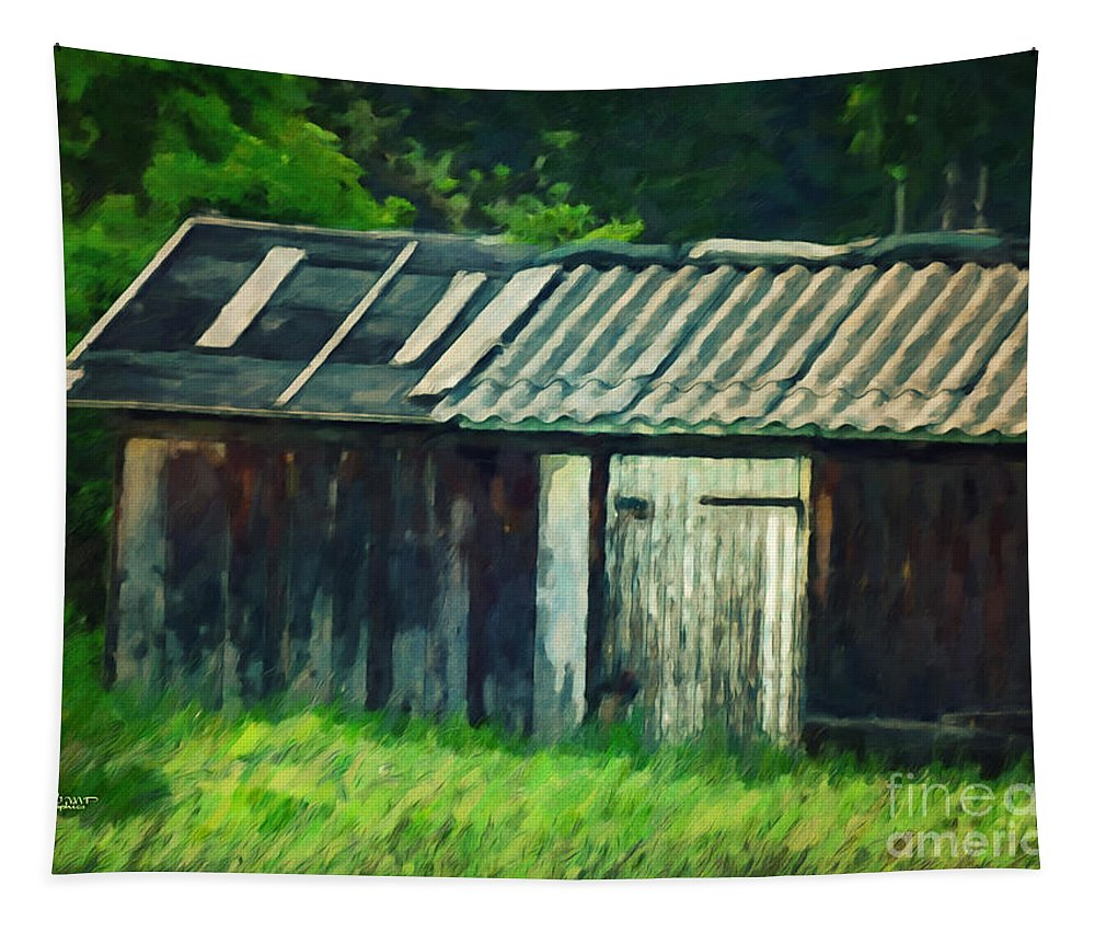 Photo Tapestry featuring the photograph Old Shed by Jutta Maria Pusl