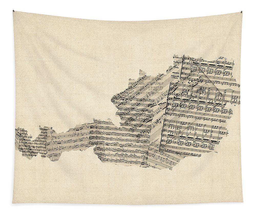 Old Sheet Music Map Of Austria Map Tapestry