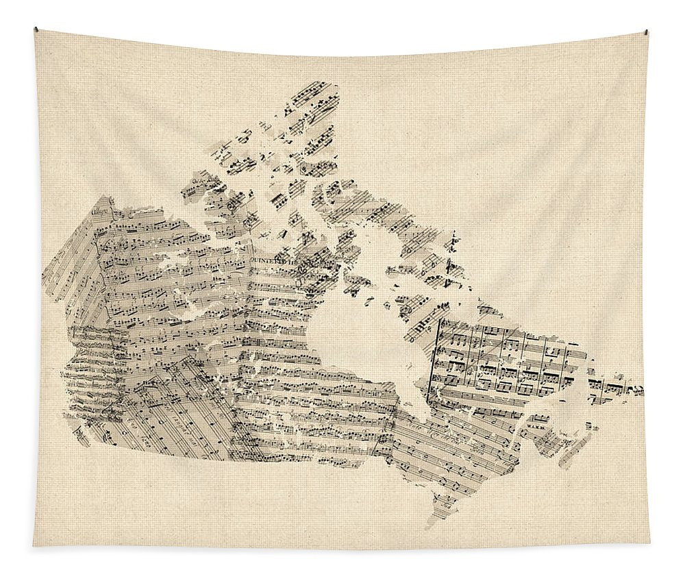 Canada Map Tapestry featuring the digital art Old Sheet Music Map Of Canada Map by Michael Tompsett
