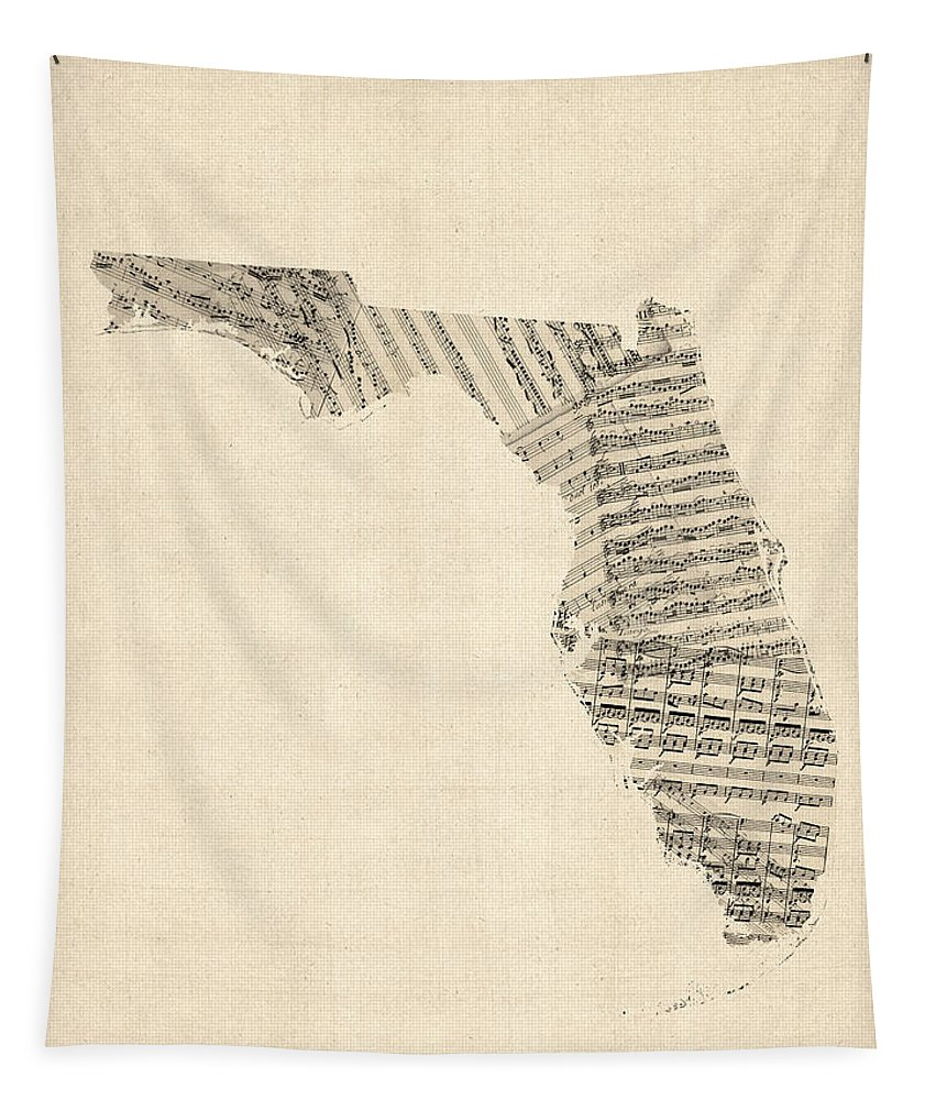 Florida Tapestry featuring the digital art Old Sheet Music Map Of Florida by Michael Tompsett