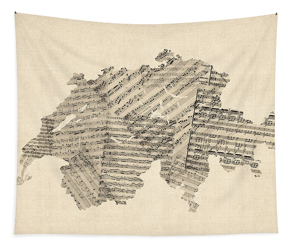 Switzerland Map Tapestry featuring the digital art Old Sheet Music Map Of Switzerland Map by Michael Tompsett