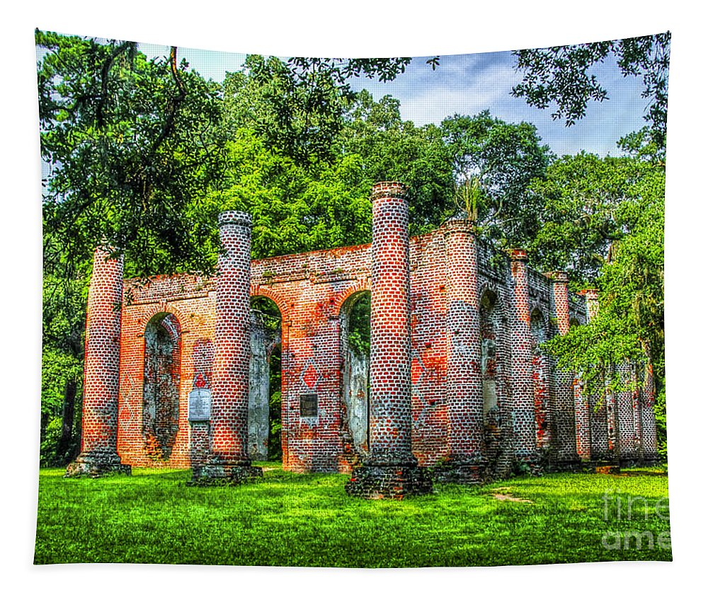 Old Sheldon Church Ruins Tapestry featuring the photograph Old Sheldon Church Ruins by Dale Powell