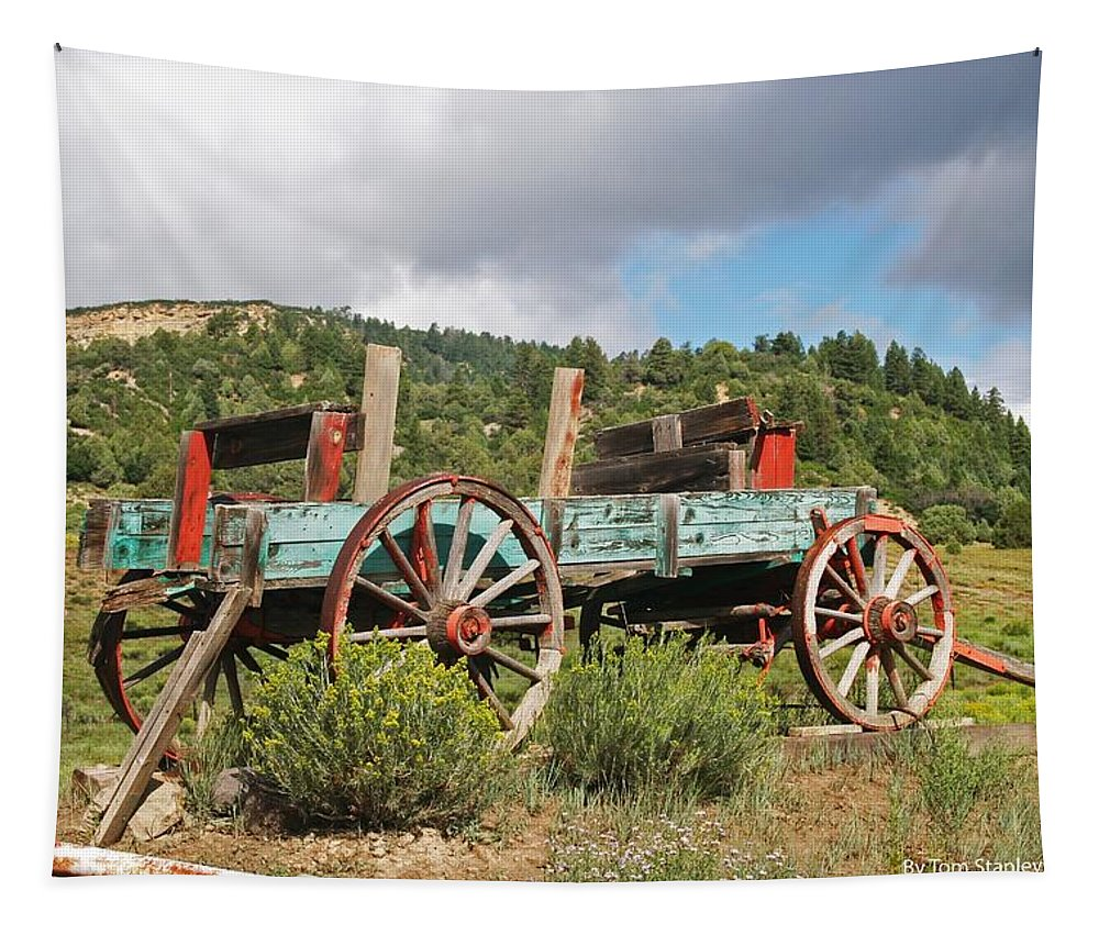 Old Wagon Along The Road Tapestry featuring the photograph Old Wagon Along The Road by Tom Janca
