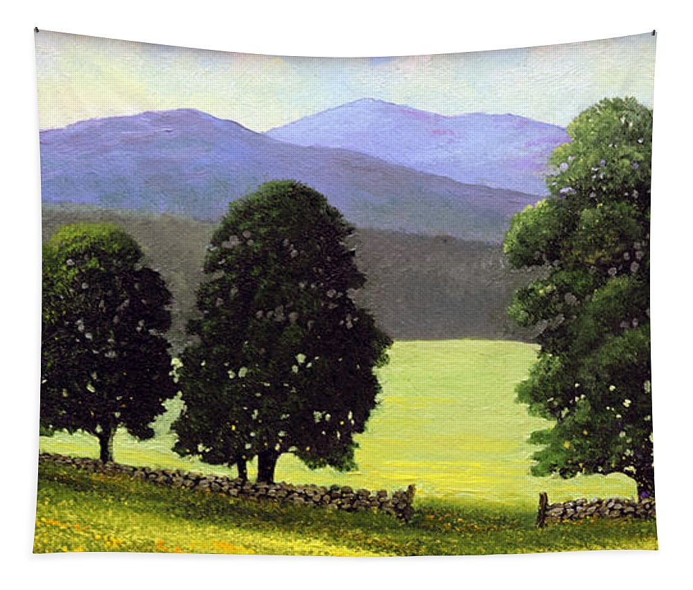 Landscape Tapestry featuring the painting Old Wall Old Maples by Frank Wilson
