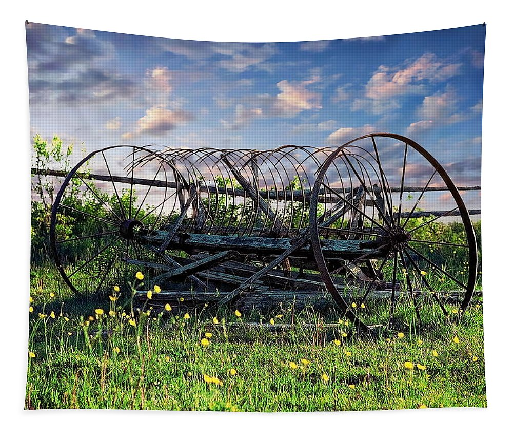 Retro Tapestry featuring the photograph Old Weathered Plow by Anthony Dezenzio
