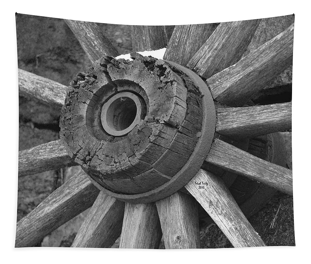 Wagon Tapestry featuring the photograph Old Wheel by Trish Tritz