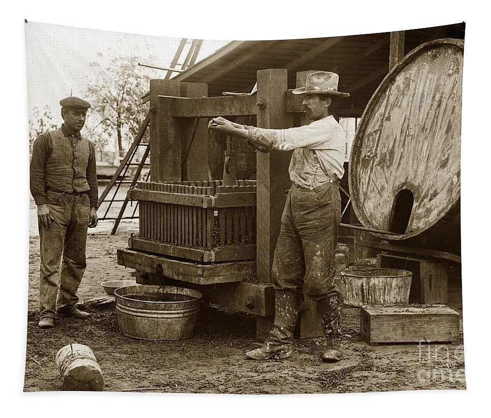 Old Wooden Wine Press Californiaa Circa 1910 Tapestry featuring the photograph Old Wooden Wine Press Circa 1910 by California Views Archives Mr Pat Hathaway Archives
