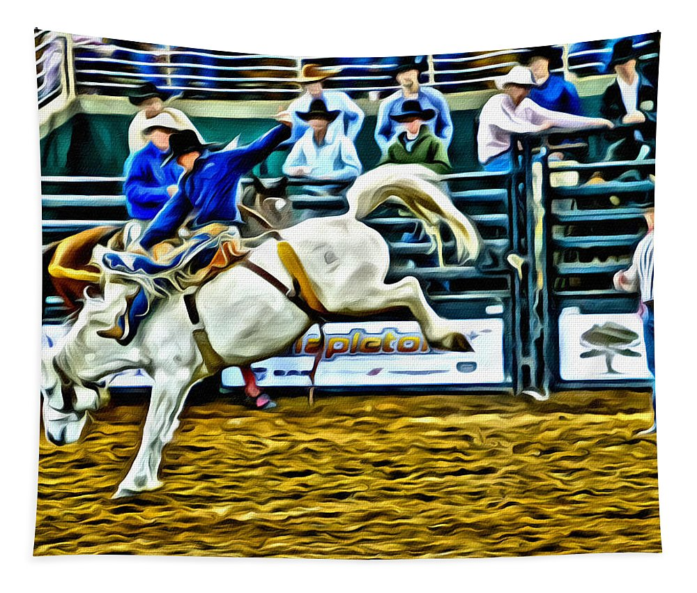 Cowboy Bronc Horse Rodeo Saddlebronc Alicegipsonphotographs Tapestry featuring the photograph Ole Whitey by Alice Gipson