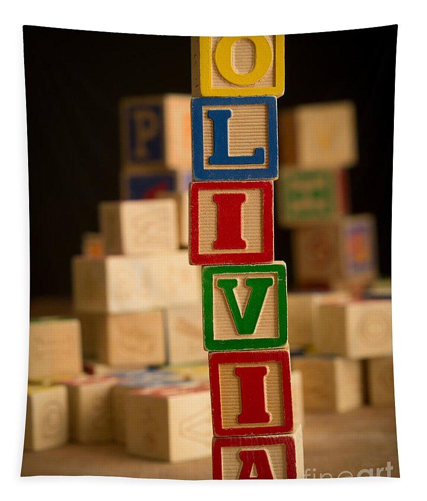 Alphabet Tapestry featuring the photograph Olivia - Alphabet Blocks by Edward Fielding