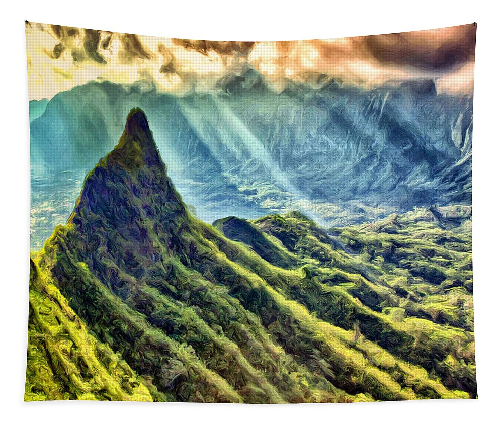 Olomana Tapestry featuring the painting Olomana And The Koolau Range by Dominic Piperata