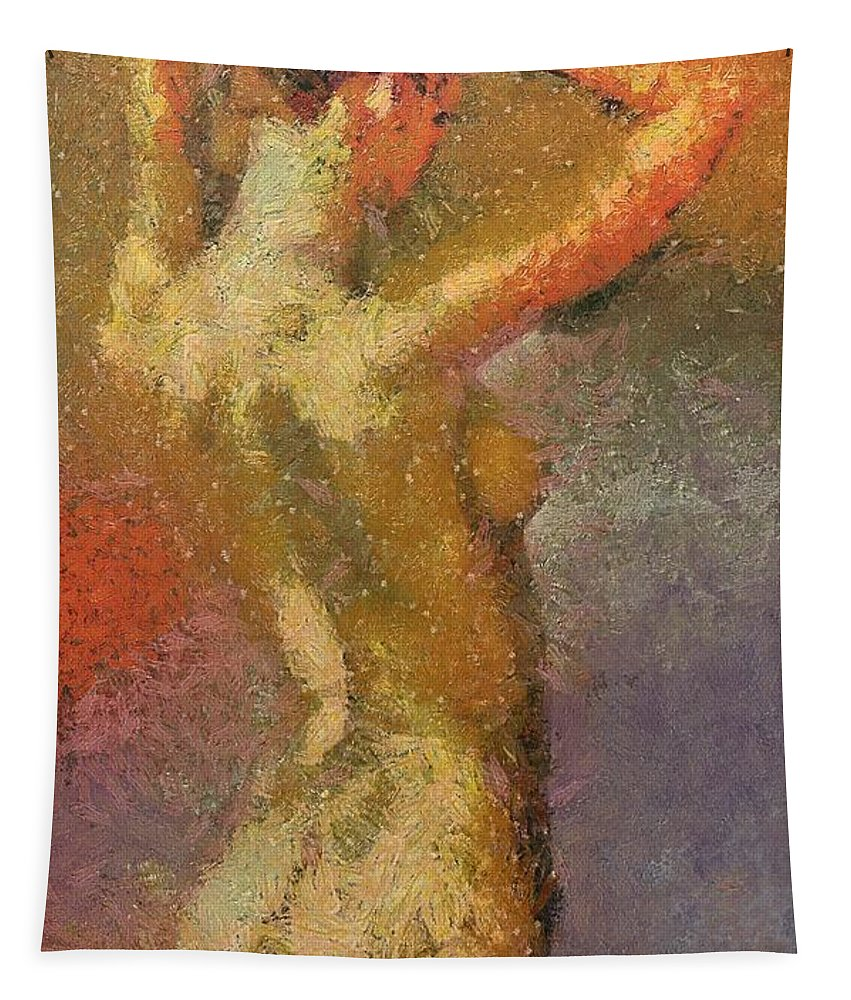 Female Tapestry featuring the painting On A Hot Summer Day by Dragica Micki Fortuna