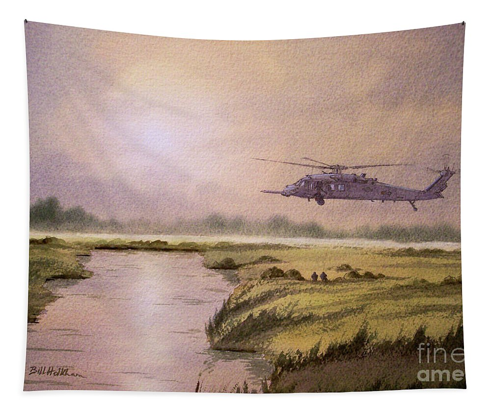 Helicopter Tapestry featuring the painting On A Mission - Hh60g Helicopter by Bill Holkham