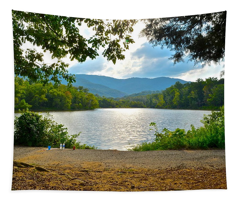 Pond Tapestry featuring the photograph On Golden Pond by Frozen in Time Fine Art Photography