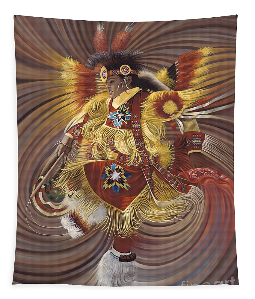 Sacred Tapestry featuring the painting On Sacred Ground Series 4 by Ricardo Chavez-Mendez