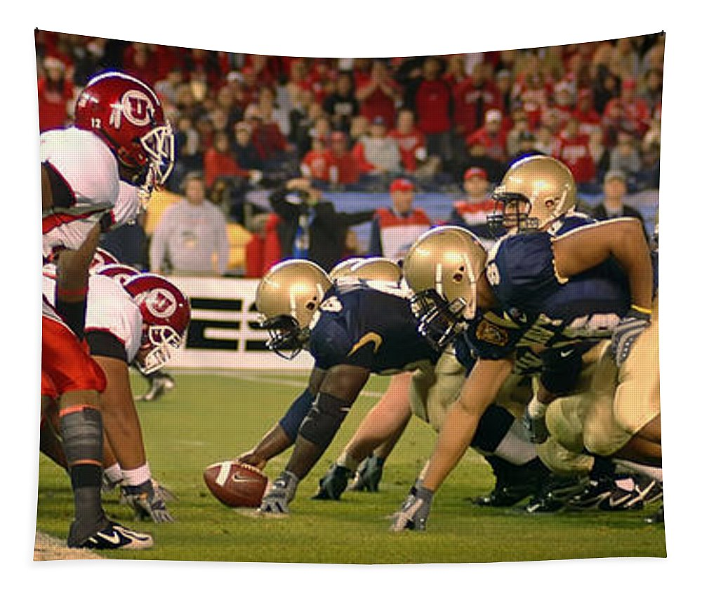 Poinsettia Bowl Tapestry featuring the photograph On The Goal Line - Notre Dame Vs Utah by Mountain Dreams