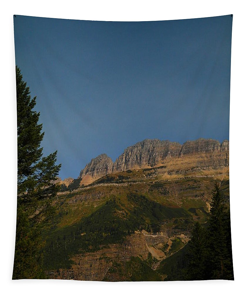 Glacier National Park Tapestry featuring the photograph On The Going To The Sun Road by Jeff Swan