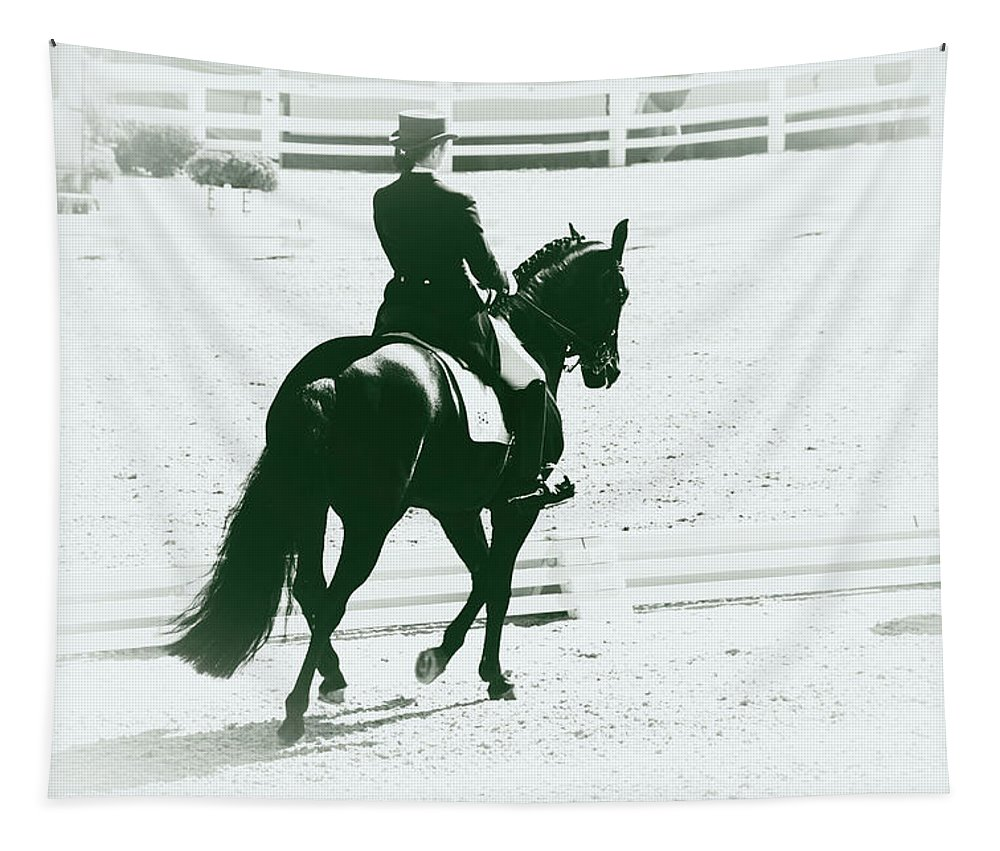 Dressage Tapestry featuring the photograph On The Long Side by Alice Gipson