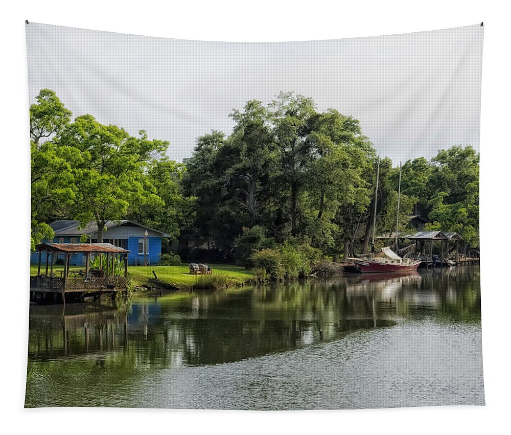 River Tapestry featuring the photograph On The River In Baldwin County Alabama by Mountain Dreams