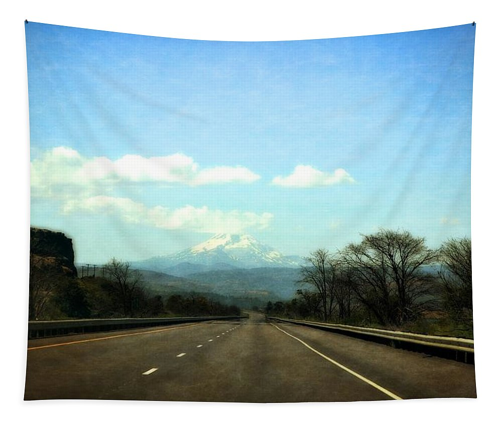 Mount Hood Tapestry featuring the photograph On The Road To Mount Hood by Michelle Calkins