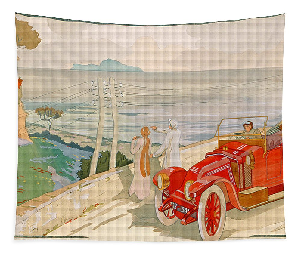 Motoring Tapestry featuring the painting On The Road To Naples by Aldelmo