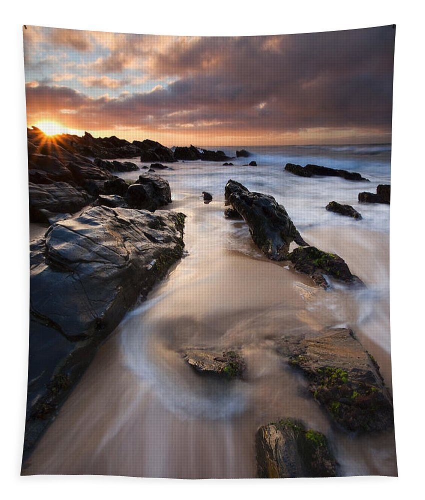 Basham Beach Tapestry featuring the photograph On The Rocks by Mike Dawson