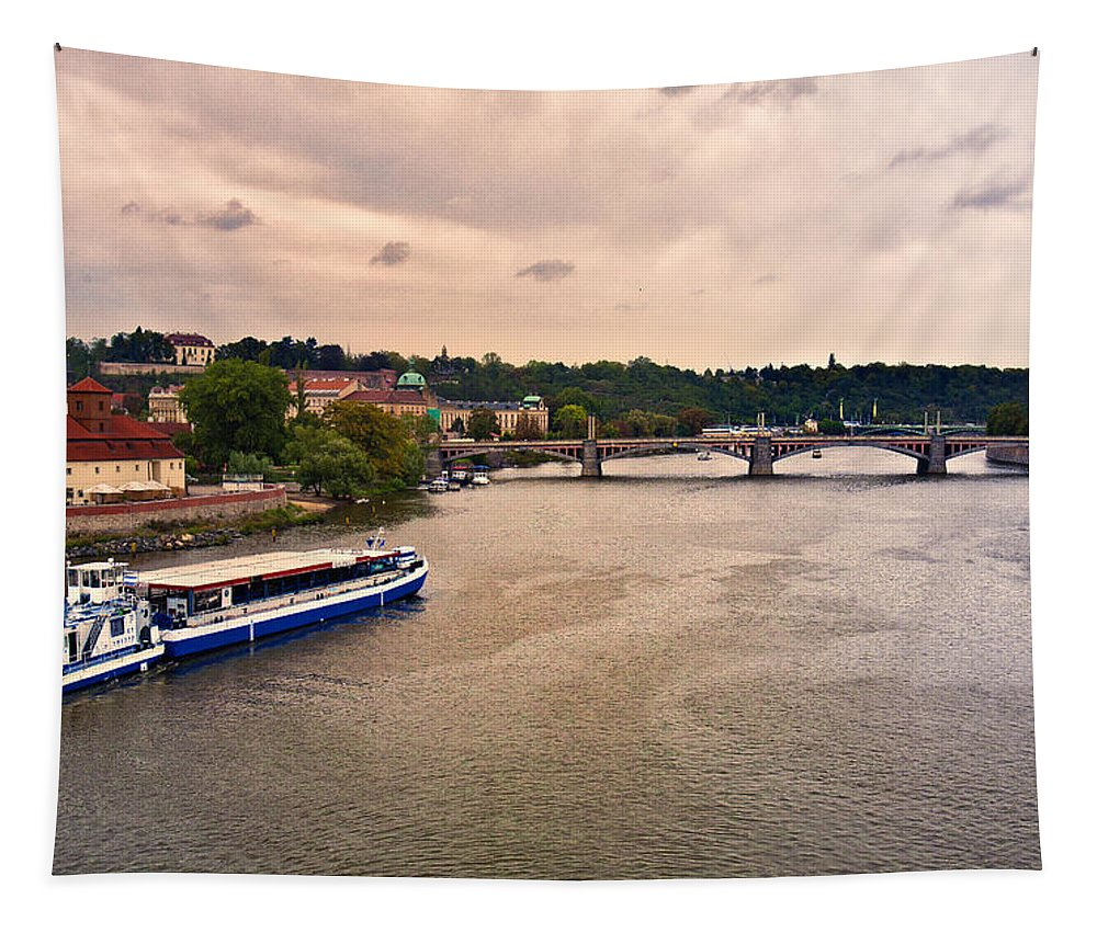 Prague Tapestry featuring the photograph On The Vltava River - Prague by Madeline Ellis