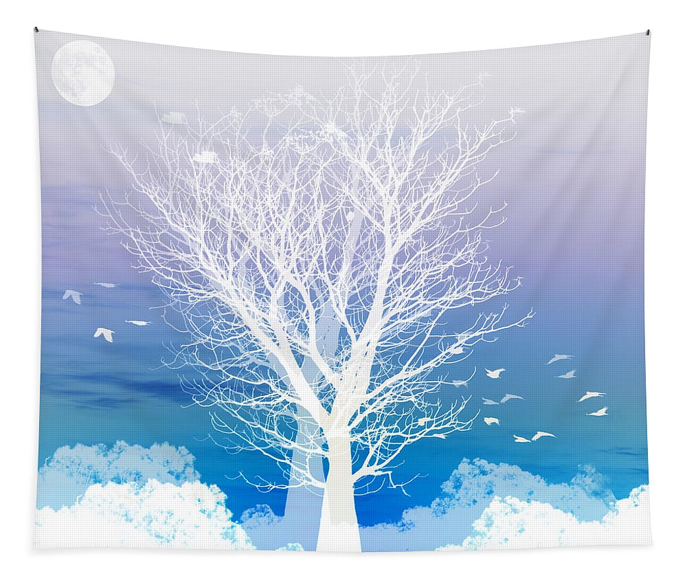 Tree Tapestry featuring the photograph Once upon a moon lit night... by Holly Kempe