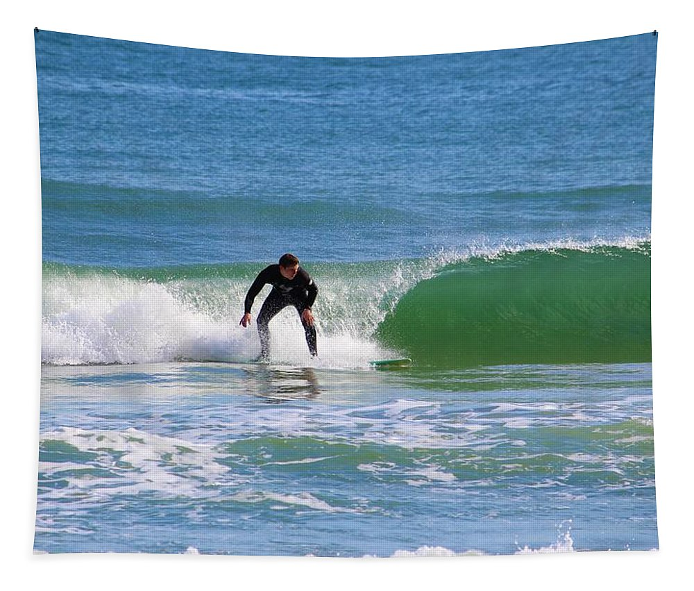 Surf Tapestry featuring the photograph One Surfer by Cynthia Guinn