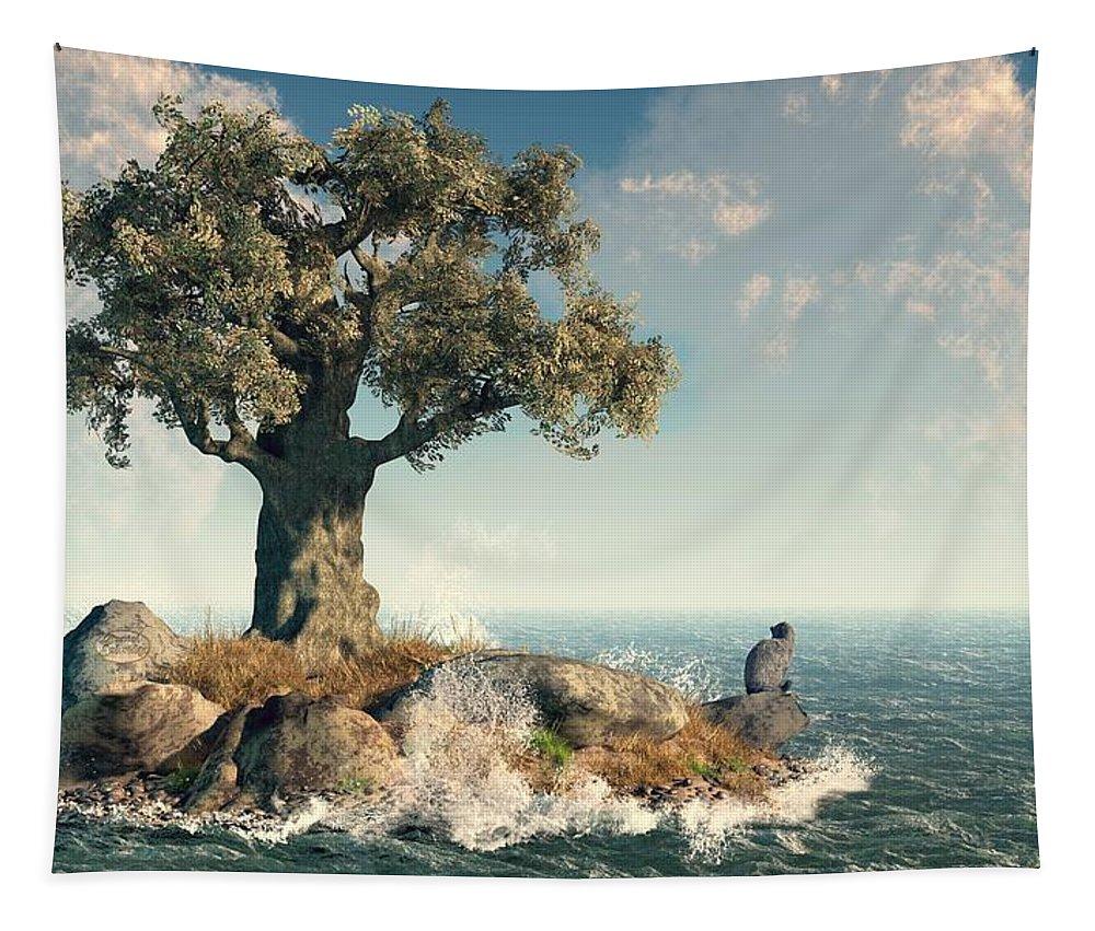 Island Tapestry featuring the digital art One Tree Island by Daniel Eskridge